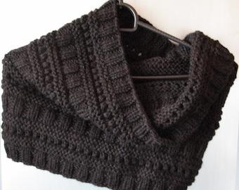 Black Infinity Scarf Cowl Wrap knit,  Wool, Alpaca
