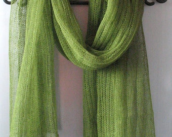 Green Linen Scarf Shawl Wrap Stole Moss Salad Light