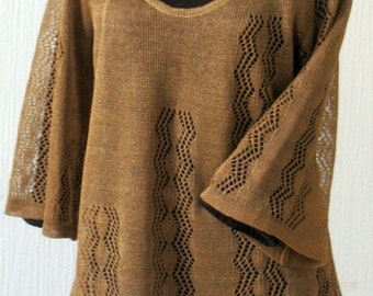 Linen Top Tunic Sweater Clothing Brown knitted and Lace