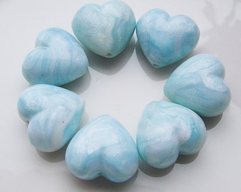 Polymer Clay Heart Beads Blue Pearl Valentine