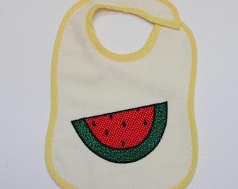 Watermelon Toddler Bib - Watermelon Slice Applique Cream Terrycloth Toddler Bib