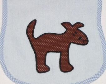 Dog Toddler Bib - Dog Applique Blue Terrycloth Toddler Bib