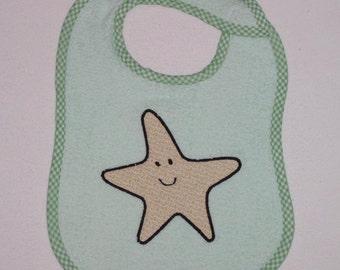 Starfish Toddler Bib - Starfish Applique Green Terrycloth Toddler Bib