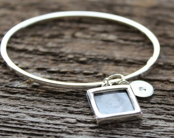 Personalized Silver Picture Bangle - Hand Stamped Initial Charm Included