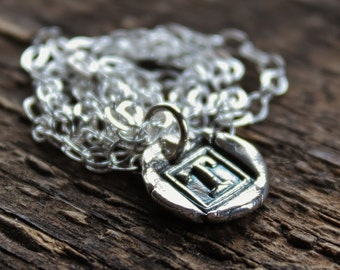 Petite Wax Seal Initial Pebble Necklace- Fine Silver Initial Of Choice