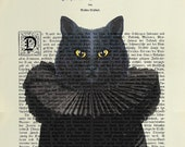 CAT BLACK Print Poster Mixed Media Painting Illustration