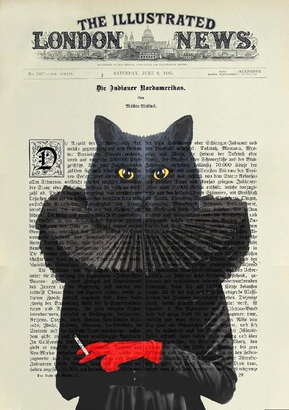 CAT BLACK Print Poster Mixed Media Painting Illustration