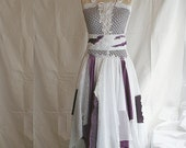 Deposit listing White and Purple Fairy Tattered Romantic Dress Upcycled Woman's Clothing Funky Style Shabby Chic Upcycled Clothig