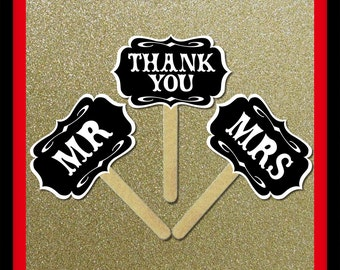 Mr and Mrs Thank You Signs - 3 Piece Set - Wedding Party Photo Booth Props