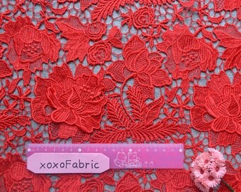 Chic Red Lace Fabric 3D double layer floral crocheted lace wedding lace gown lace lace supplies