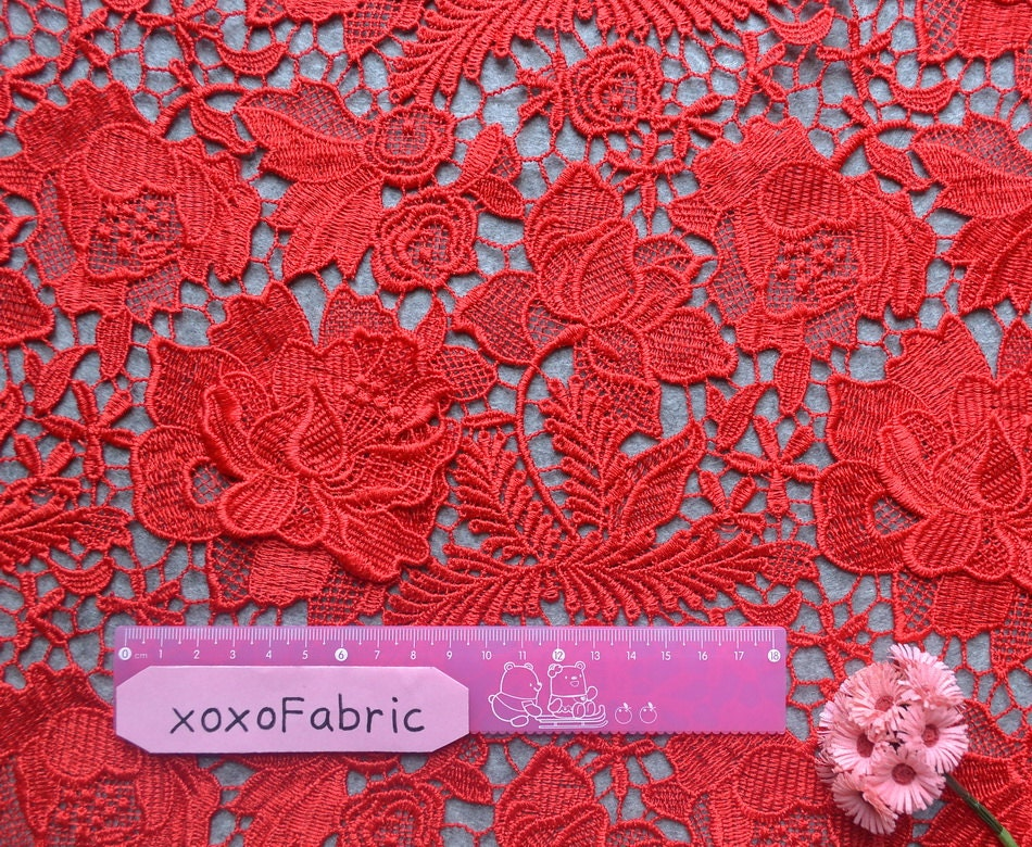 Chic Red Lace Fabric 3d Double Layer Floral Crocheted Lace