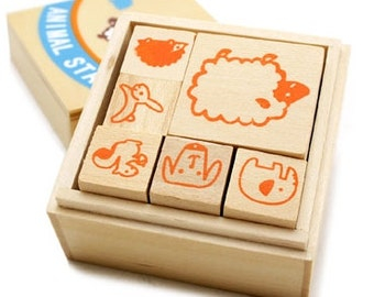 Animal Stamp Set(6 stamps in wooden box)