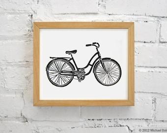 Bike Print Vintage Bicycle Bike - Linocut Printmaking Relief Print