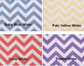 "Pair of TWO 50"" Wide Curtain Panels Wide 84"" 96 108 120 NEW COLORS Zig Zag Chevron Baby Blue Pale Yellow Coral Thistle White Drapes"