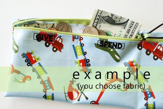 Boys Give Spend Save trifold wallet in designer laminated cotton   3 sections   your choice of fabric