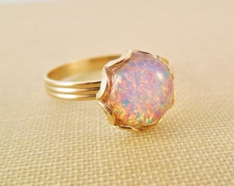 Vintage Fire Opal Ring .Vintage Harlequin in Vintage Adjustable Setting.Child to Adult.LIMITED QUANTITIES. Birthstone Jewelry.Shabby Chic