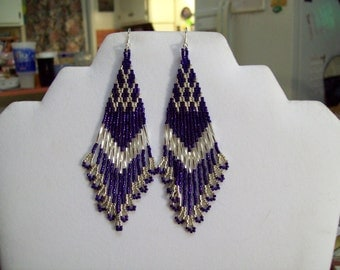 Native American Style Beaded Dark Purple and Silver Earrings Boho, Hippie, Southwestern,