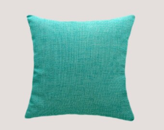 """Decorative Pillow case, Turquoise  color outside/inside fabric Throw pillow case, fits 18""""x 18"""" insert, Toss pillow case, Cushion case."""