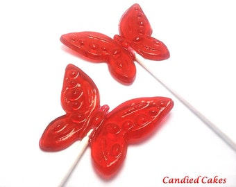 12 BEAUTIFUL BUTTERFLY LOLLIPOPS - Any Color and Flavor