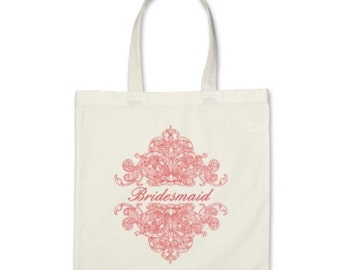 Wedding Tote Bag - Personalized Ornate Tote in Coral