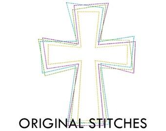 Reverse Cross Applique and Machine Embroidery Design File 4x4 5x7 6x10 7x11 8x12