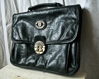 """SALE Vintage 80s """"Gold Lock """" black vegan leather handbag / satchel with gold tone detailing"""