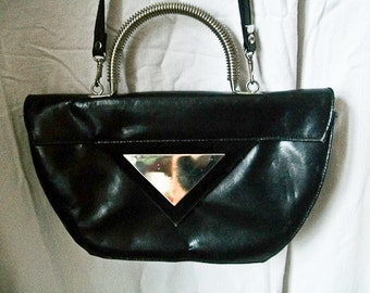 "SALE Vintage 80s ""Triangle Reflection"" handbag / purse with metal handle"