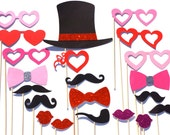 Love Photo Booth Prop Set with GLITTER - 21 pieces on a stick - Great Photobooth Props - Valentines Day GLITTER Props - RED