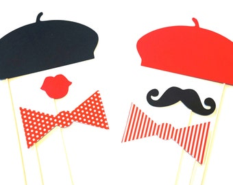 Photo Booth Props - The Parisian Collection - Set of 6 Photo Props - Birthdays, Weddings, Parties - Photobooth Props