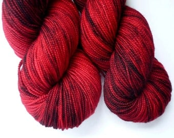 Hand Dyed Yarn - Superwash Merino Sock Weight in Red Velvet Colorway