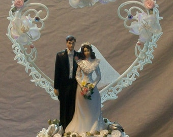Traditional Custom Made Wedding Cake Topper With Pink Swarovski Crystals