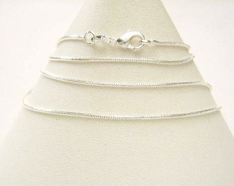 "Qty. 1 - 30"" Bright Silver Plated Flat Snake Chain, Necklace Blank, 30 inches, Long Chain For Pendants or Charms"