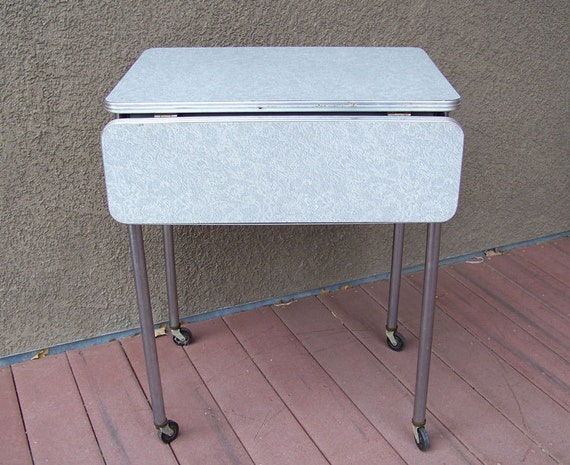 Industrial Formica Table Desk Cocktail Cart Chrome Legs 1950s