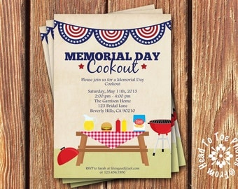 Memorial Day • 4th of July •Labor Day Cookout Party Invitations