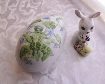 Vintage Porcelain Egg Trinket Box with Violets