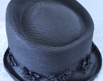 Vintage Ladies Black fine Panama straw hat