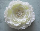 "Bridal Hair Flower - Ivory Hair Flower or Brooch - Ranunculus with Pearls and Rhinestones - 4"" AVA FLOWER"