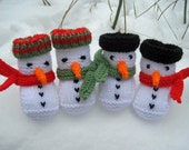 BABY KNITTING PATTERN in pdf - Snowman Baby Booties