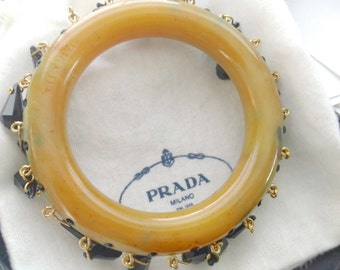 Prada Signed Butterscotch Bracelet with Crystal Dangles in Original Box Couture Designer Jewelry
