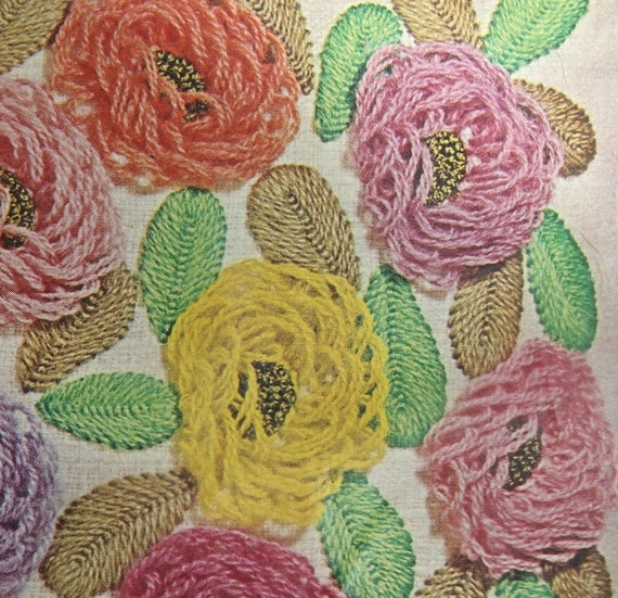 SALE Bucilla Crewel Pillow Kit 1960s  By SandrasCornerStore