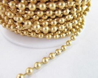 2 Ft 3mm Matte Gold Plated Brass Ball Chain Ch170
