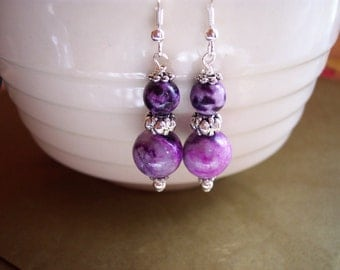 Man Made Purple Sugilite Dangle Earrings