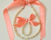 Coral Flower girl jewelry set adjustable necklace and stretchy bracelet with swarovski crystal balls wedding jewelry  flower girl gift