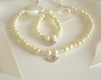 Ivory Flower girl jewelry set inital hand stamped with swarovski balls wedding jewelry bridal flower girl jewelry
