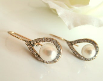 Bridal earrings-Vintage inspired antique brass sea pearl rhinestone earrings antique brass earrings wedding earrings bridesmaid gifts
