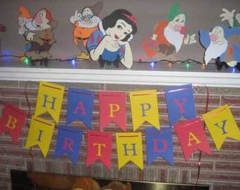Snow White, Princess, Birthday party banner