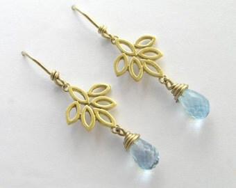 14k Gold Drop Earrings - Dangle Earrings with Blue Topaz Teardrops  - Bridal Earrings - Flower Earrings - Solid Gold Earrings