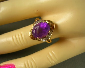 Amethyst and Diamond Ring Mid Century Size 7 Yellow Gold 2.28Ctw 2.9gm February Birthstone