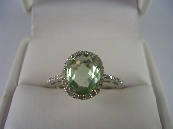 Green Amethyst And Diamond Halo Ring 14k White Gold 1 93ctw