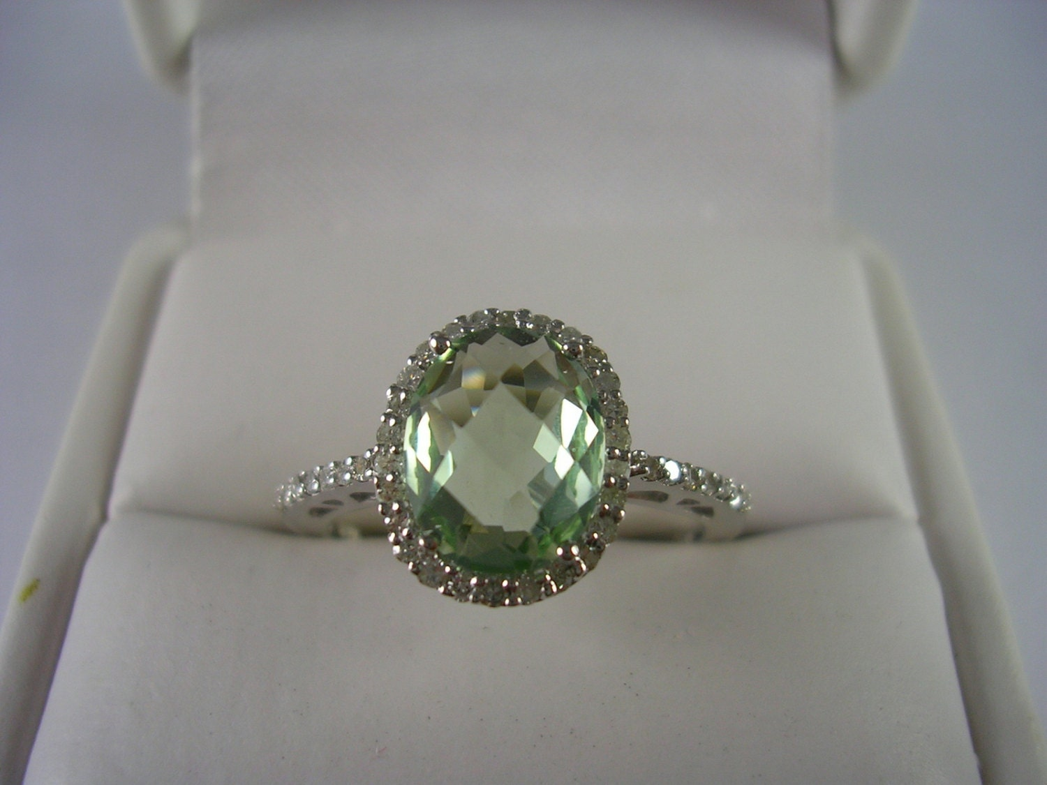 green amethyst and diamond halo ring 14k white gold. Black Bedroom Furniture Sets. Home Design Ideas